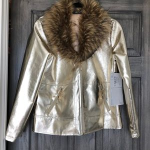 NEW WITH TAGS! GOLD METALLIC FAUX FUR JACKET COAT